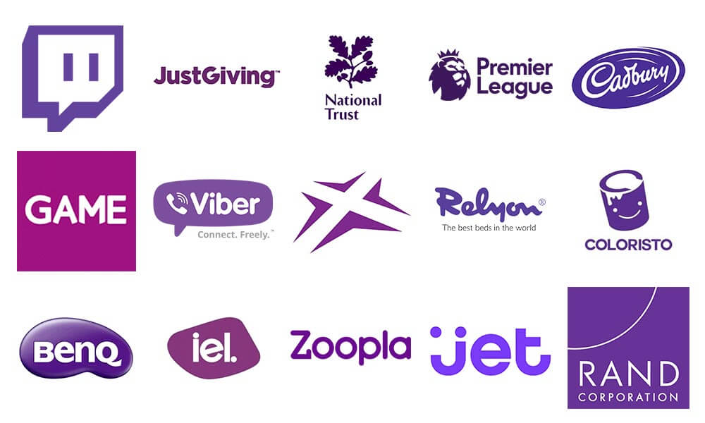 purple logos colours
