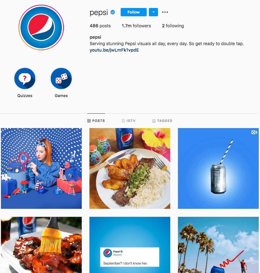 Pepsi Instagram Marketing Materials