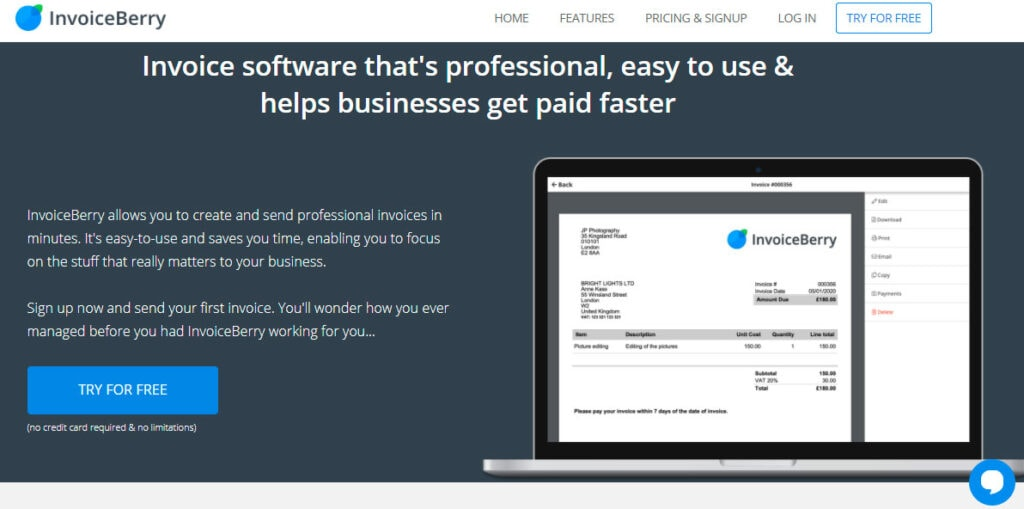 Professional Invoicing Software Invoiceberry