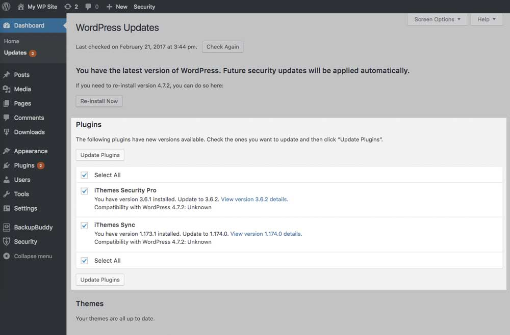 Update WordPress Security Plugins