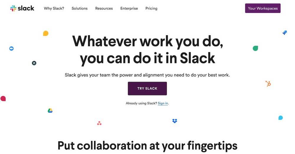 Slack Landing Page Design