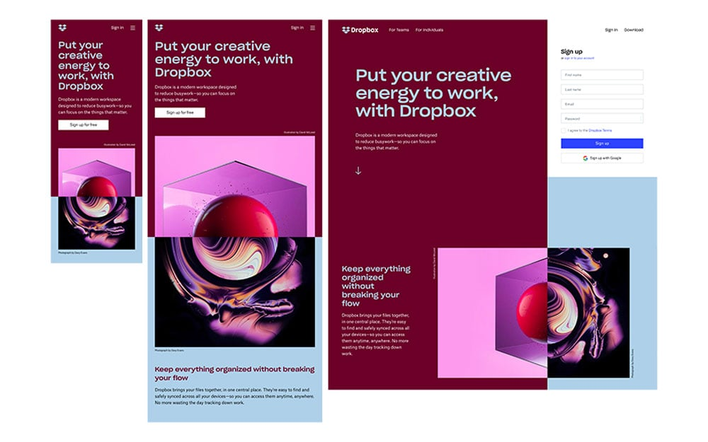 Resposive Web Design Example Dropbox