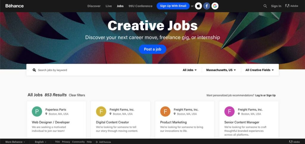 Behance Jobs For Graphic Designers