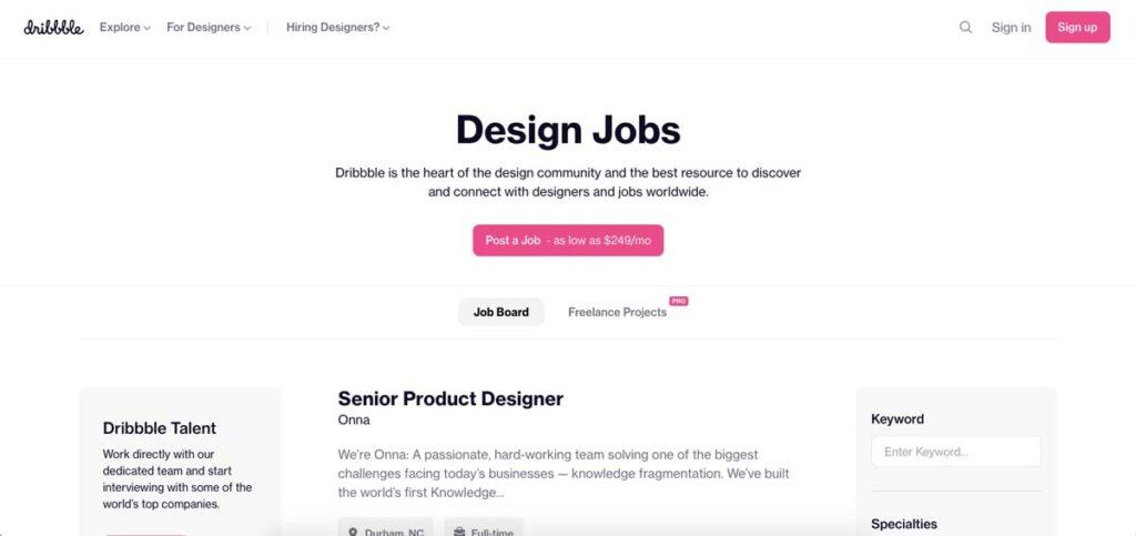 Dribbble Design Jobs Board