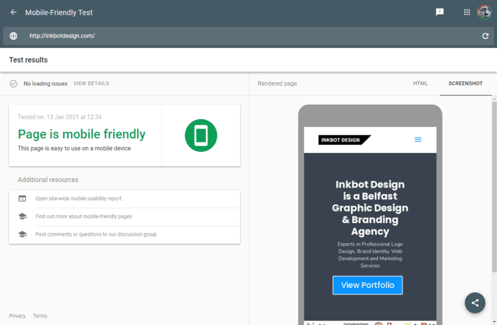 Mobile Friendly Test – Google Search Console
