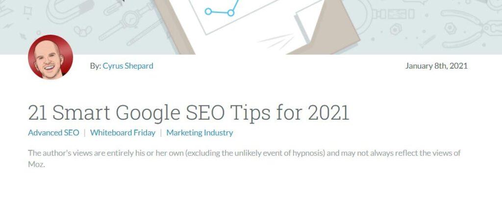 Smart Google Seo Tips 2021