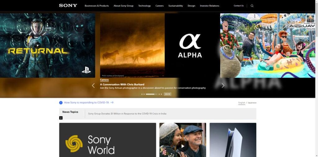 Sony Corporate Website Design