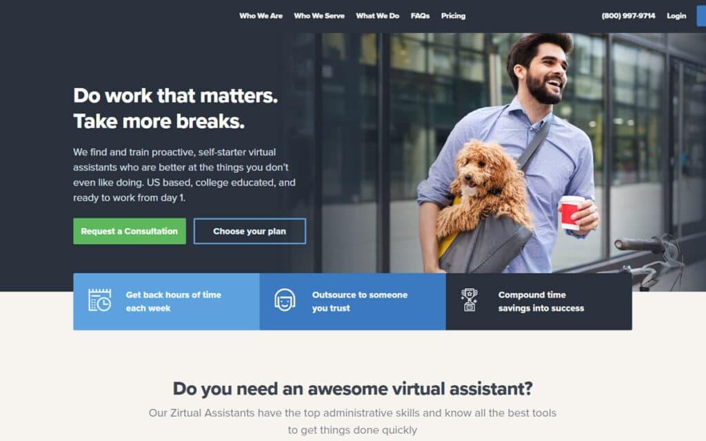 Zirtual Hire Virtual Assistants Website